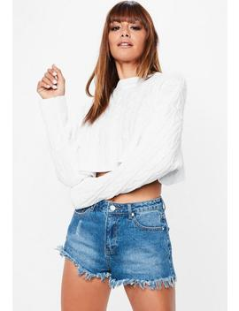 White Cable Cropped Knitted Jumper by Missguided