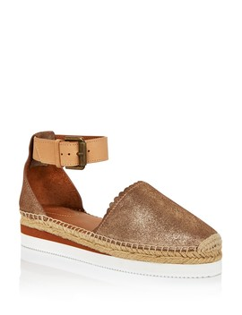 Women's Leather Platform Espadrille Ankle Strap Flats   100% Exclusive  by See By Chloé