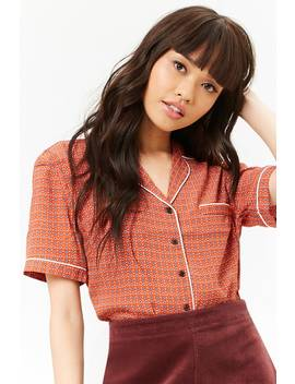 Circle Print Pajama Inspired Shirt by Forever 21