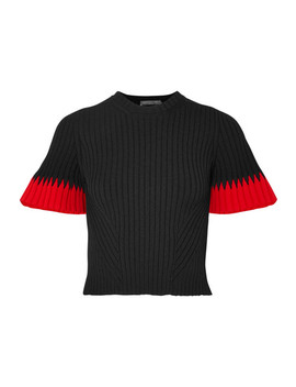 Two Tone Ribbed Knit Sweater by Alexander Mc Queen