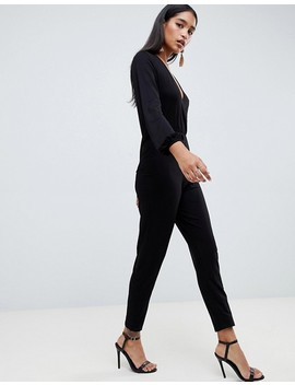 Asos Design Long Sleeve Jumpsuit With Wrap Front And Peg Leg by Asos Design
