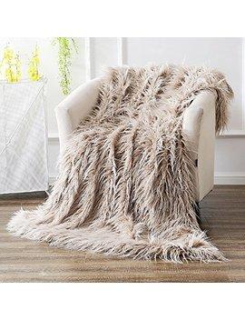 Ojia Super Soft Fuzzy Shaggy Mongolian Lamb Throw Blanket Plush Warm Fluffy Cozy Elegant Long Faux Fur Blanket Bedding Cover Chic Decorative For Bedroom Sofa Floor(50 X 60 Inch, Light Coffee) by Ojia