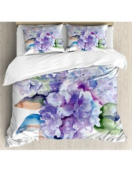 Watercolor Queen Size Duvet Cover Set, Delicate Hydrangea Flowers Blooming Botanical Arrangement Wedding Inspired, Decorative 3 Piece Bedding Set With 2 Pillow Shams, Violet Blue, By Ambesonne by Ambesonne