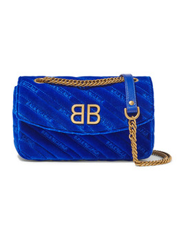 Bb Round Embroidered Quilted Velvet Shoulder Bag by Balenciaga