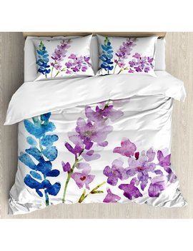 Purple Queen Size Duvet Cover Set, Branches Of Watercolor Flowers In Spring Shades Of Purple And Blue, Decorative 3 Piece Bedding Set With 2 Pillow Shams, Violet Lavender Azure Blue, By Ambesonne by Ambesonne