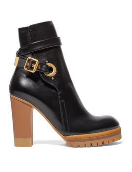 Suzey Glossed Leather Platform Ankle Boots by Chloé