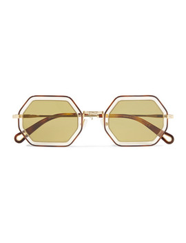 Octagon Frame Gold Tone And Acetate Sunglasses by Chloé