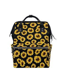 Alirea Sunflower Pattern Diaper Bag Backpack, Large Capacity Muti Function Travel Backpack by Alirea
