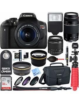 Canon Eos Rebel T6i Digital Slr Camera Wifi + Ef S 18 55mm Is & Sigma 70 300mm Lens Kit + Accessory Bundle 64 Gb Sdxc Memory + Dslr Photo Bag + Wide Angle Lens + 2x Telephoto Lens +Flash+Remote+Tripod by Canon