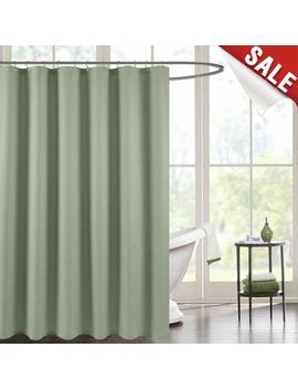 Jinchan Waterproof Shower Curtain Olive Waffle Weave Fabric Shower Curtain Rust Resistant Metal Grommets Top For Bathroom Green 70x72 by Jinchan