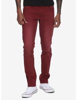 New! Xxx Rude Red Wash Skinny Jeans by Hot Topic