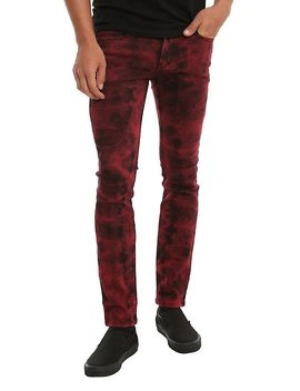 Xxx Rude Red & Black Tie Dye Super Skinny Jeans by Hot Topic
