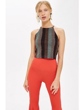 Multi Striped Glitter Halter Neck Top by Topshop