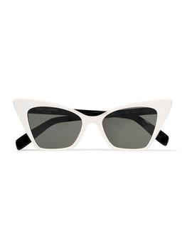 Two Tone Cat Eye Acetate Sunglasses by Saint Laurent