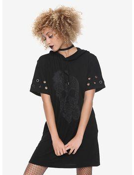 Black Glitter Skull Hematite Grommet Short Sleeve Hooded Dress by Hot Topic
