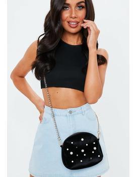 Black Pearl Embellished Velvet Bag by Missguided