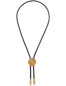 Medusa Leather And Gold Tone Necklace by Versace