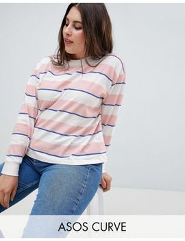 Asos Design Curve Top With Long Sleeve And Crew Neck In Stripe by Asos Design