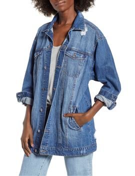 Distressed Longline Denim Jacket by Bp.