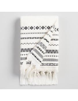Ivory And Black Tribal Striped Zohra Hand Towel by World Market
