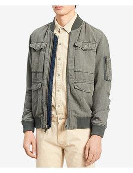 Men's Rebuilt Full Zip Linen Blend Bomber Jacket by Calvin Klein Jeans