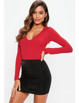 Red V Neck Ribbed Long Sleeve Bodysuit by Missguided