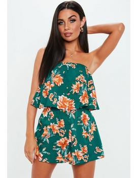 Teal Floral Layered Bandeau Playsuit by Missguided