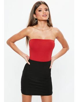 Red Bandeau Thong Bodysuit by Missguided