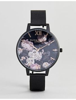 Olivia Burton Ob16 Ad35 Signature Floral Mesh Watch In Black by Olivia Burton