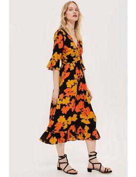 Bold Floral Print Midi Dress by Topshop