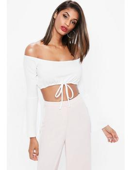 White Tie Waist Flared Sleeve Bardot Crop Top by Missguided