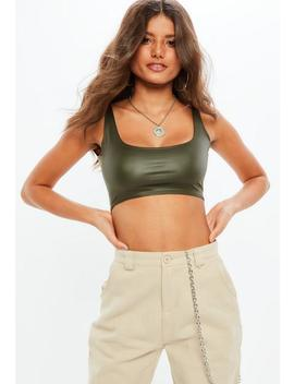 Brown Faux Leather Bralette by Missguided