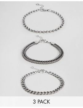 Asos Design Mixed Chain Bracelet Pack In Burnished Silver by Asos Design