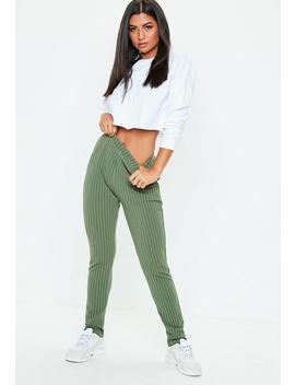 Khaki Pinstripe Skinny Pants by Missguided