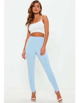 Light Blue Stretch Crepe Cigarette Pants by Missguided