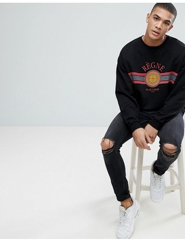Asos Design Oversized Sweatshirt With Print In Black by Asos