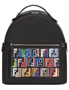 Logo Print Backpack by Fendi