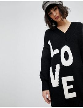 River Island V Neck Oversized Sweater Dress by River Island