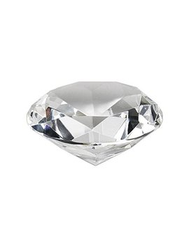"Crystal Clear Faceted Diamond Shaped Paperweight Top Maybe Engraved Apx. 4"" Diameter by Hybeads"