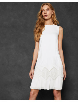 Pleated Lace Hem Dress by Ted Baker