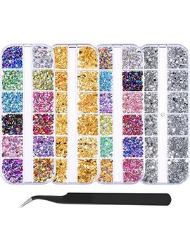 Bememo 4300 Pieces (4 Boxes) Nail Art Rhinestones Kit Nail Rhinestones With 1 Piece 1 Pick Up Tweezers, Multicolor Nail Studs Horse Eye Rhinestones For Nail Art... by Bememo