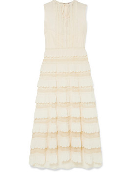 Lace Trimmed Crepe De Chine And Point D'esprit Tulle Maxi Dress by Red Valentino