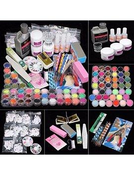 Lookatool 42 Acrylic Nail Art Tips Powder Liquid Brush Glitter Clipper Primer File Set Kit by Lookatool