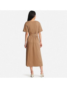 Women 100 Percents Cotton Belted Short Sleeve Dress by Uniqlo