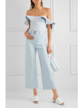 Florian Off The Shoulder Ruffled Denim Top by Apiece Apart