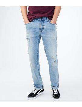 Straight Medium Wash Destroyed Stretch Jean by Aeropostale