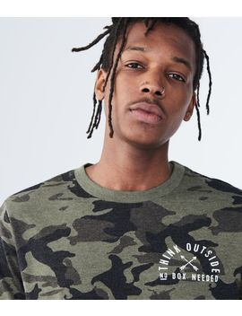 Long Sleeve Camo Think Outside Graphic Tee by Aeropostale