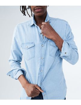 Long Sleeve Light Wash Denim Woven Shirt by Aeropostale