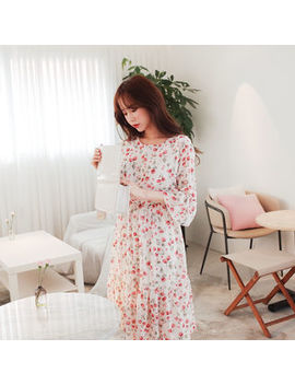 Floral Print Chiffon A Line Dress by Cherryville