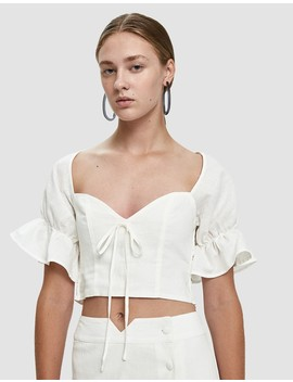 Raylee Cropped Linen Blouse by Farrow
